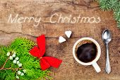 picture of sugar cube  - Cup of coffee with christmas decoration and text message - JPG