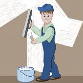 image of masonic  - Illustration of worker or mason with spatula and plaster or cement doing renovation - JPG