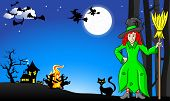 Постер, плакат: Witches Dancing Around Fire At Halloween