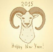 stock photo of ram  - Sketch New Year ram in vintage style background - JPG