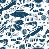 foto of blue crab  - Fish  sushi and seafood seamless background patter in blue and white vector icons of calamari  lobster  crab  sushi  shrimp  prawn  mussel  salmon steak  lemon and herbs for print or textile - JPG