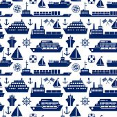 stock photo of ship  - Ships and boats marine seamless background pattern with silhouette vector icons of a cruise liner  yacht  sailboat  container ship  tanker  freighter  anchor  semaphore flags  ships wheel  square - JPG