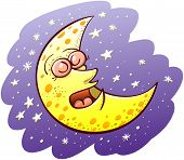 picture of wane  - Nice yellow waxing moon with bulging eyes and snub nose while sleeping placidly and floating in the middle of a violet space and several shiny stars - JPG