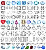 stock photo of precious stone  - illustration cut precious gem stones set of forms - JPG