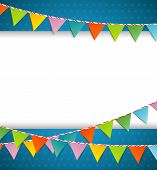stock photo of school carnival  - Vector illustration of Bunting party color flags - JPG