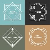 picture of outline  - Vector set of outline emblems and badges  - JPG
