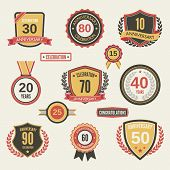 picture of 15 year old  - Anniversary celebration retro label set isolated vector illustration - JPG