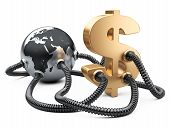 image of gas-pipes  - Gas and oil pipes attached to dollar sign and planet earth - JPG