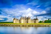 stock photo of chateau  - Chateau de Chambord royal medieval french castle and reflection. Loire Valley France Europe. Unesco heritage site.