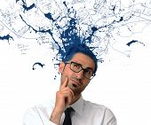 pic of exaltation  - Creative businessman with blue color exit from the head - JPG