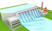 stock photo of hydro  - Illustration of Power hydro station isolated on white - JPG