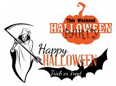 pic of scythe  - Happy Halloween party invitation with pumpkin - JPG