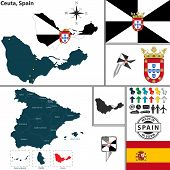 pic of ceuta  - Vector map of region of Ceuta with coat of arms and location on Spanish map - JPG