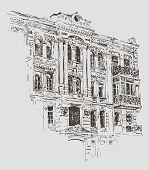 picture of kiev  - sketch drawing of Kiev historical building - JPG