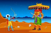 pic of ravana  - easy to edit vector illustration of Rama killing Ravana in Dussehra - JPG