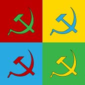 image of communist symbol  - Pop art communist symbol icons vector illustration - JPG