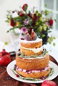 stock photo of ombres  - Dessert table for a wedding. Ombre cake cupcakes sweetness and flowers