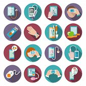 foto of therapist  - Digital health icons set of pocket therapist blood pressure monitor isolated vector illustration - JPG