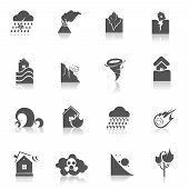 picture of landslide  - Natural disaster environmental catastrophe icons black set isolated vector illustration - JPG