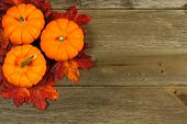 stock photo of cluster  - Cluster of autumn leaves and pumpkins against aged wood background - JPG