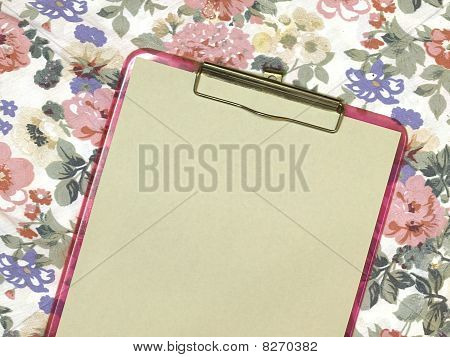 Pink Feminine Clipboard On Floral Background