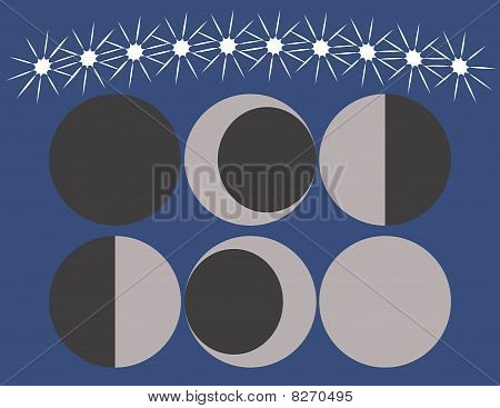 Set of the Moons Phases
