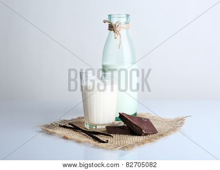 Glass and bottle of milk with chocolate chunks and vanilla sticks on burlap cloth isolated on white