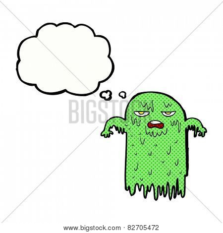cartoon slimy ghost with thought bubble