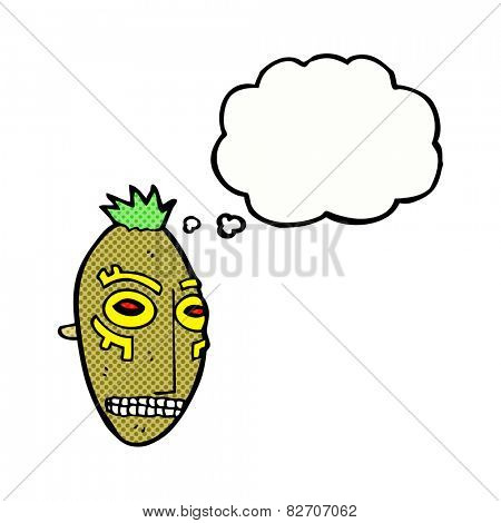 cartoon tribal mask with thought bubble