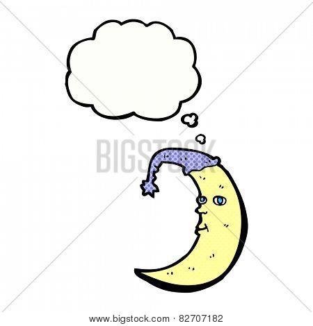 sleepy moon cartoon with thought bubble