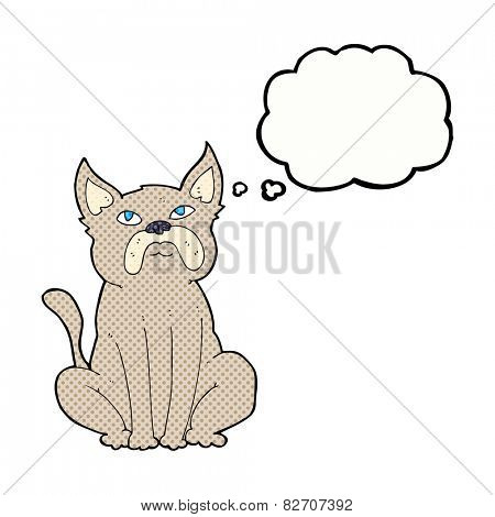 cartoon grumpy little dog with thought bubble
