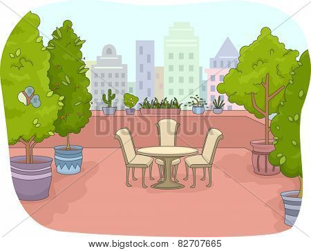 Illustration of a Rooftop Patio Surrounded by Indoor Plants