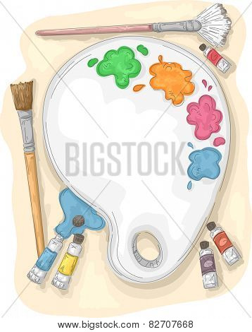 Illustration of a Paint Palette Surrounded by Paintbrushes and Tubes of Paint