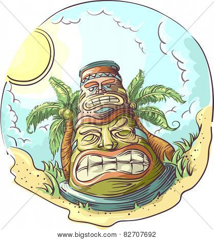 Illustration of a Tiki Statue Standing in the Middle of a Tropical Beach