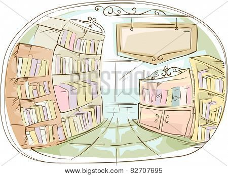Illustration of a Library With a Library Sign Hanging on the Side