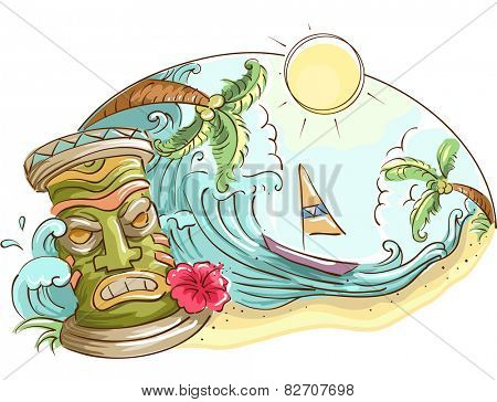 Illustration of a Tropical Beach Decorated With a Tiki Statue
