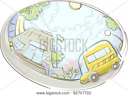 Illustration of a School Bus Parked Near a Building
