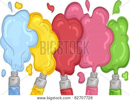 Illustration of Different Colors of Paint Spilling Out