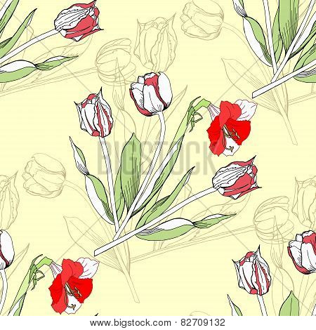 Seamless pattern  with amaryllis and tulip-04