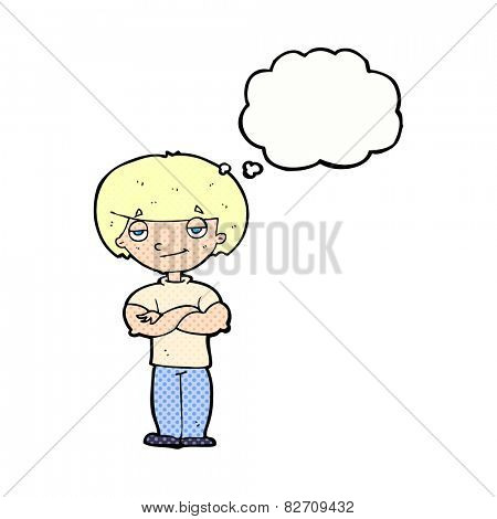 cartoon smug looking man with thought bubble