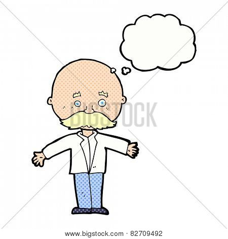 cartoon bald man with open arms with thought bubble