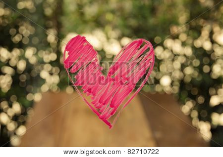 Heart Painted On Glass.