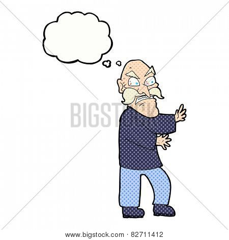 cartoon angry old man with thought bubble