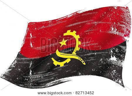 Angolan grunge Flag. A grunge flag of Angola in the wind for you