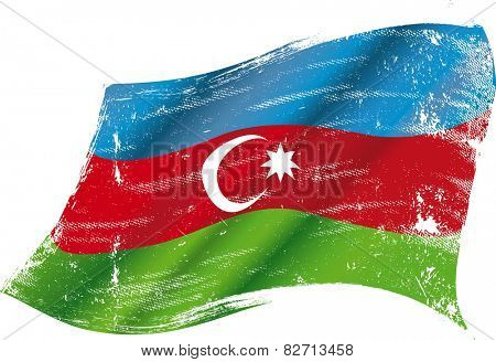 Azerbaijan grunge flag. Flag of  Azerbaijan in the wind with a texture