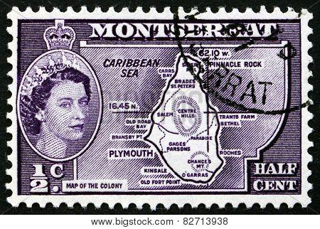 Postage Stamp Montserrat 1956 Map Of Montserrat