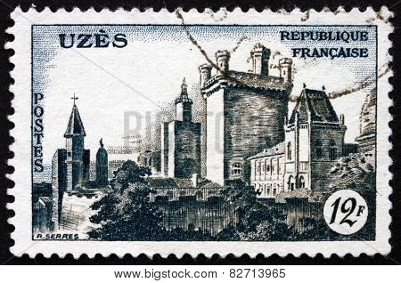 Postage Stamp France 1957 View Of Uzes Chateau