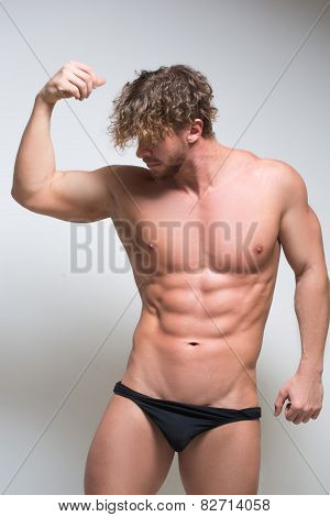Sexy very muscular male model in underwear
