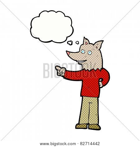 cartoon wolf man pointing with thought bubble
