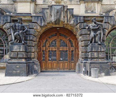 vintage door and statues Dresden Saxony Germany